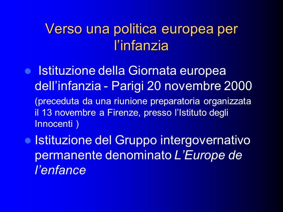 Verso una politica europea per linfanzia Istituzione della Giornata europea dellinfanzia - Parigi 20 novembre 2000 (preceduta da una riunione preparat