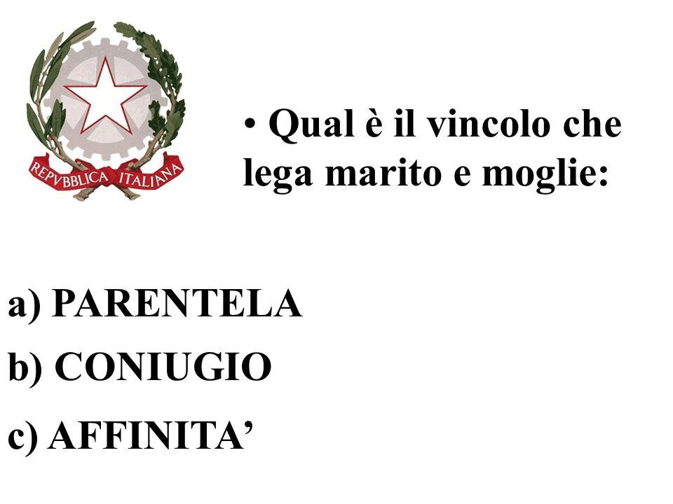 Qual è il vincolo che lega marito e moglie: a) PARENTELA b) CONIUGIO c) AFFINITA