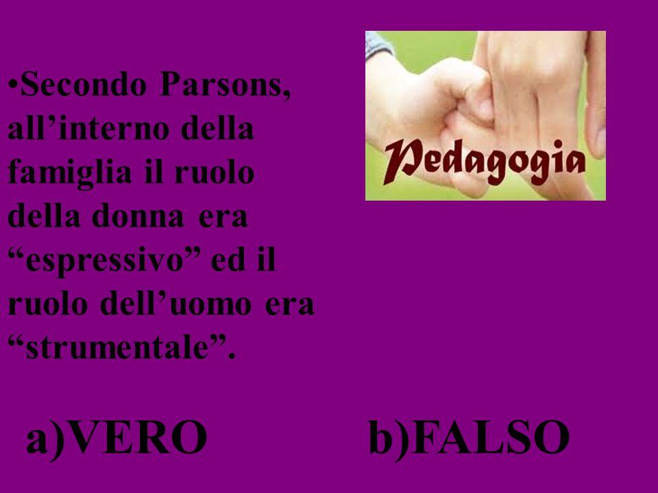 Secondo Parsons, allinterno della famiglia il ruolo della donna era espressivo ed il ruolo delluomo era strumentale. a)VEROb)FALSO