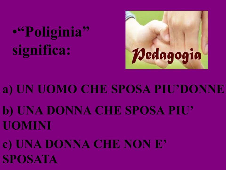 Poliginia significa: a) UN UOMO CHE SPOSA PIUDONNE b) UNA DONNA CHE SPOSA PIU UOMINI c) UNA DONNA CHE NON E SPOSATA