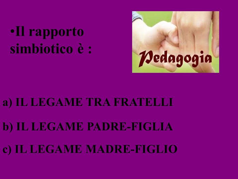 Il rapporto simbiotico è : a) IL LEGAME TRA FRATELLI b) IL LEGAME PADRE-FIGLIA c) IL LEGAME MADRE-FIGLIO