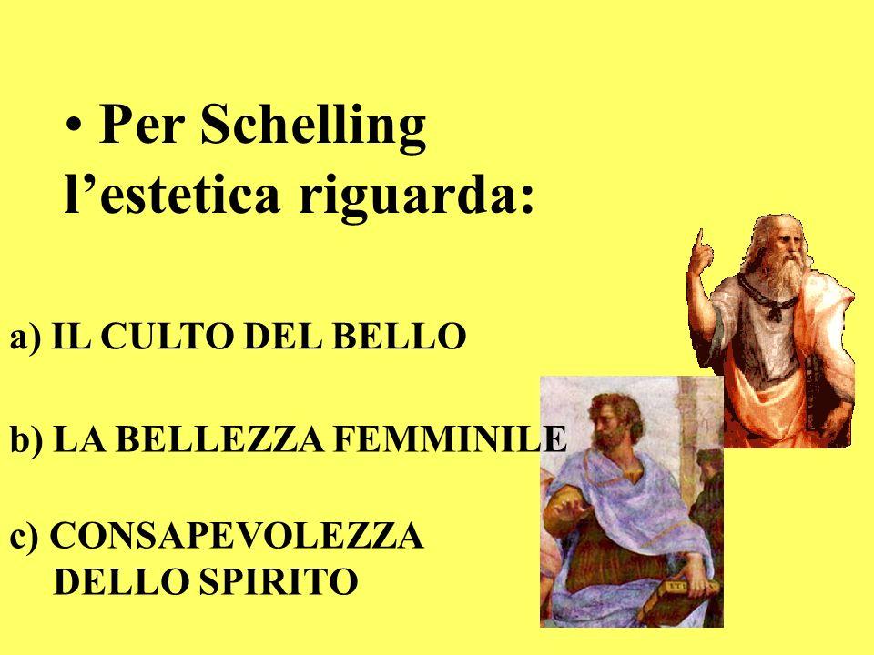 Per Schelling lestetica riguarda: a) IL CULTO DEL BELLO b) LA BELLEZZA FEMMINILE c) CONSAPEVOLEZZA DELLO SPIRITO