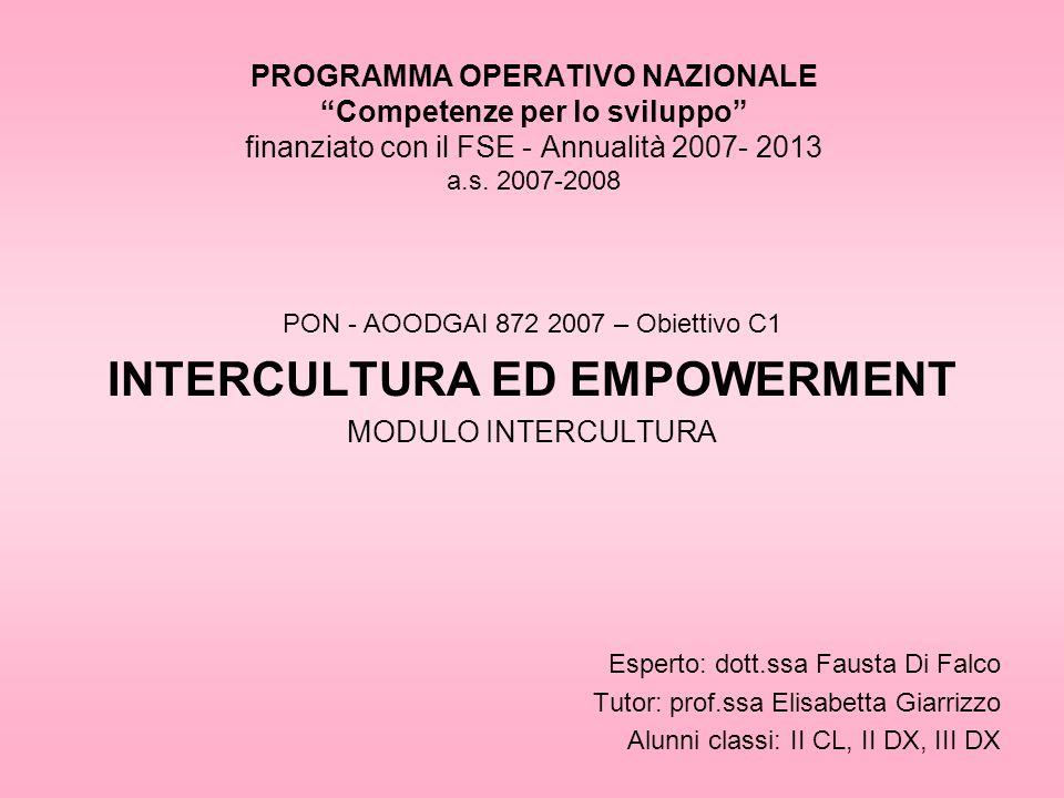 PROGRAMMA OPERATIVO NAZIONALE Competenze per lo sviluppo finanziato con il FSE - Annualità 2007- 2013 a.s.