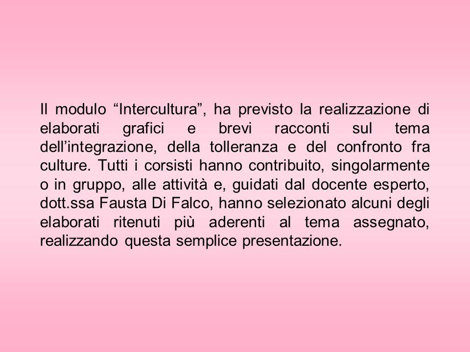 Il modulo Intercultura, ha previsto la realizzazione di elaborati grafici e brevi racconti sul tema dellintegrazione, della tolleranza e del confronto fra culture.