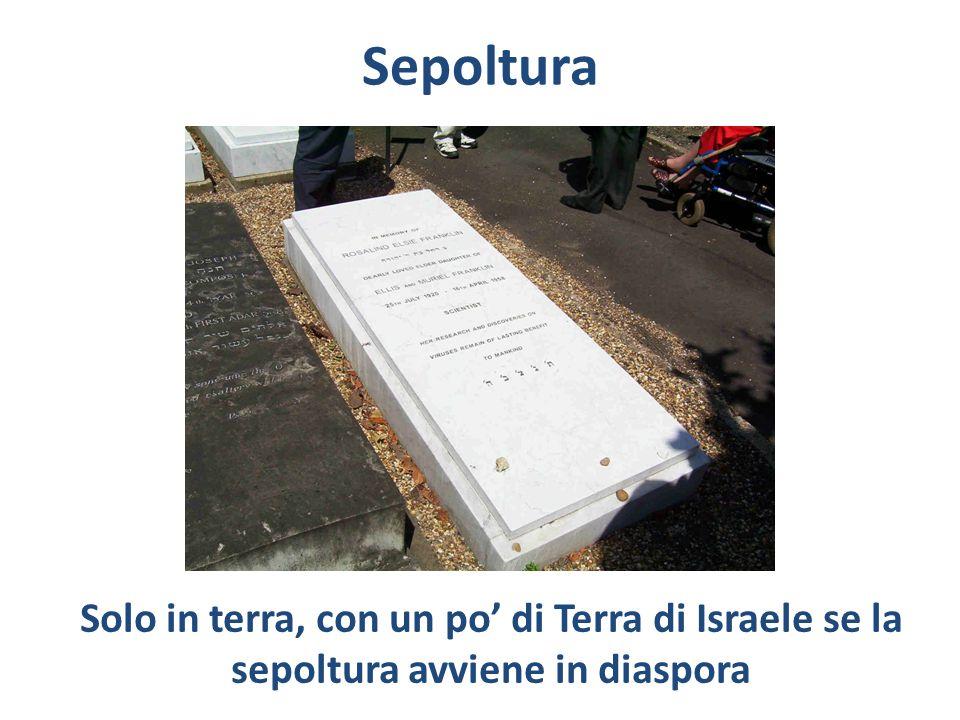 Sepoltura Solo in terra, con un po di Terra di Israele se la sepoltura avviene in diaspora