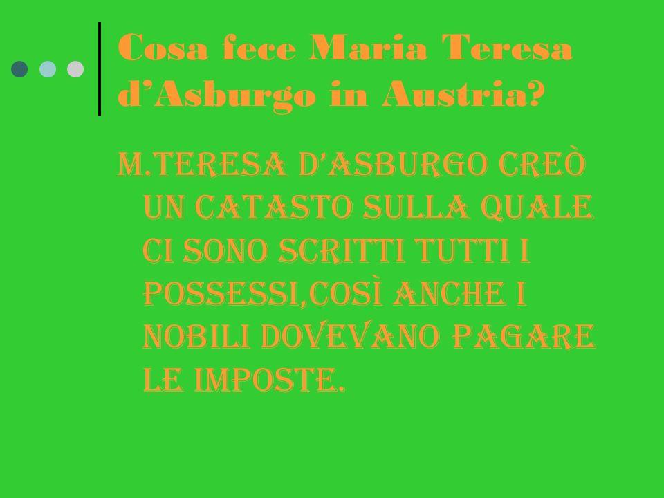 Cosa fece Maria Teresa dAsburgo in Austria.