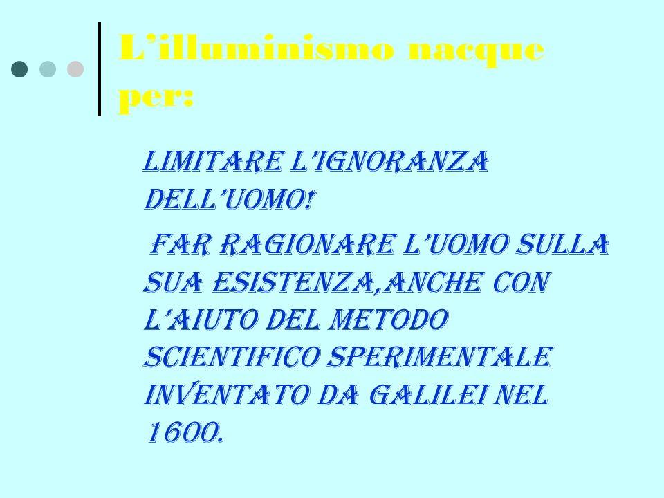 INOLTRE LILLUMINISMO NACQUE GRAZIE A: STUDIO APPROFONDITO ALLA CREAZIONE DI ENCICLOPEDIE E RIVISTE E GRAZIE AGLI INCONTRI