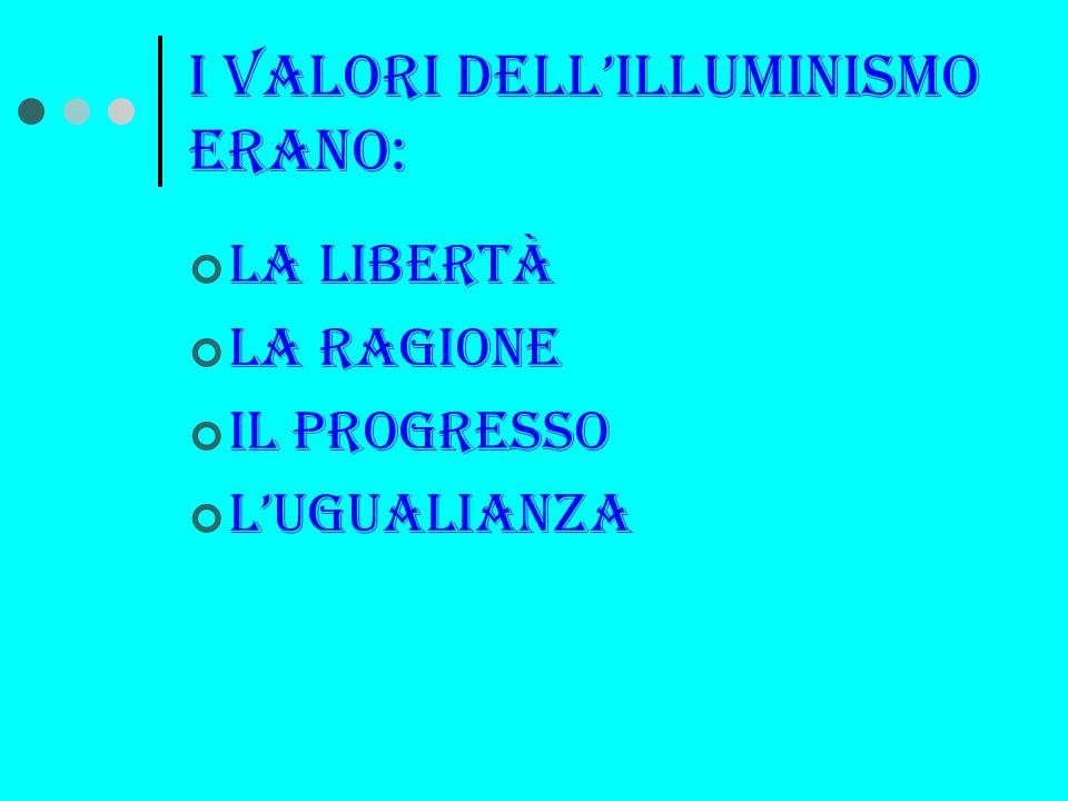 I valori dellilluminismo erano: la libertà La ragione Il progresso Lugualianza