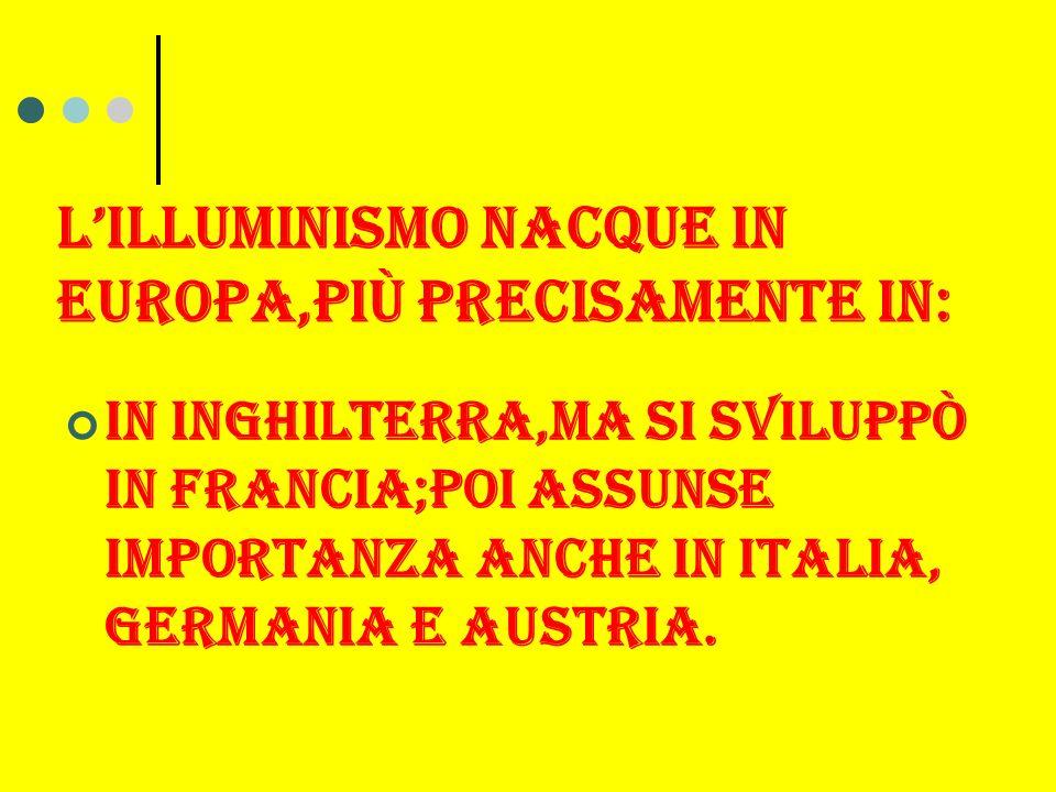 LILLUMINISMO NACQUE IN EUROPA,Più PRECISAMENTE IN: In inghilterra,ma si sviluppò in francia;poi assunse importanza anche in italia, germania e austria.