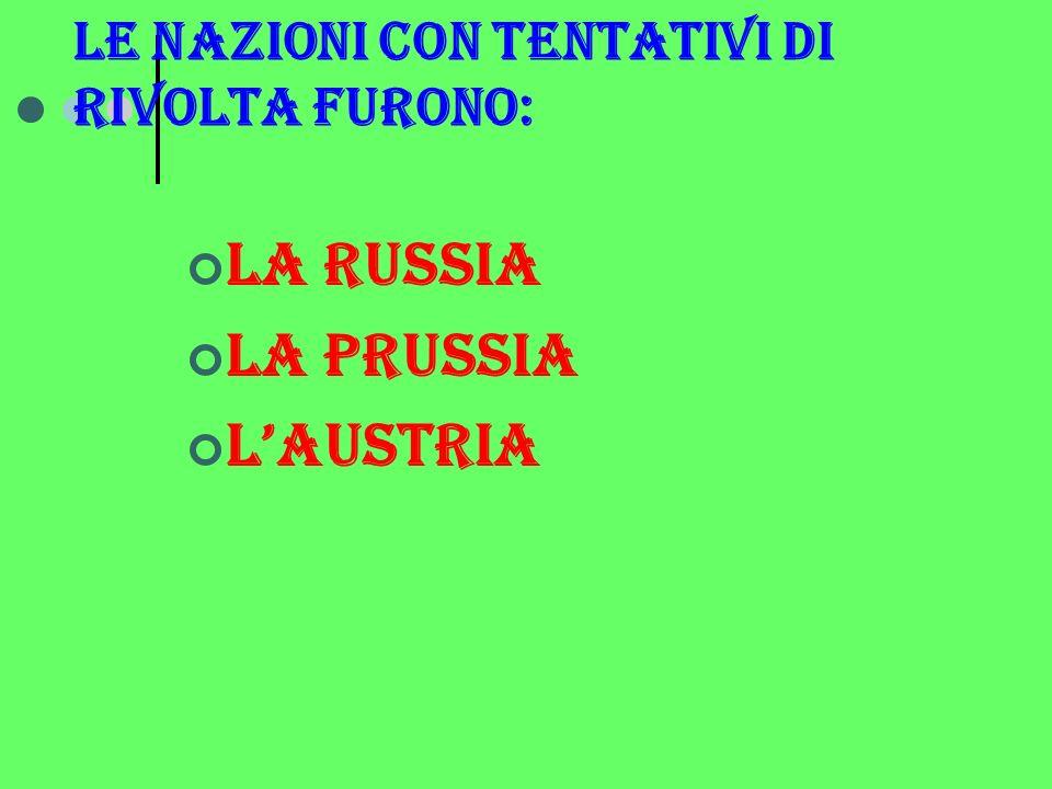 Le nazioni con tentativi di rivolta furono: La russia La prussia Laustria