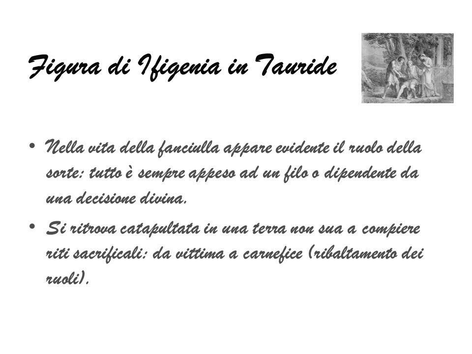 Figura di Ifigenia in Tauride Nella vita della fanciulla appare evidente il ruolo della sorte: tutto è sempre appeso ad un filo o dipendente da una decisione divina.