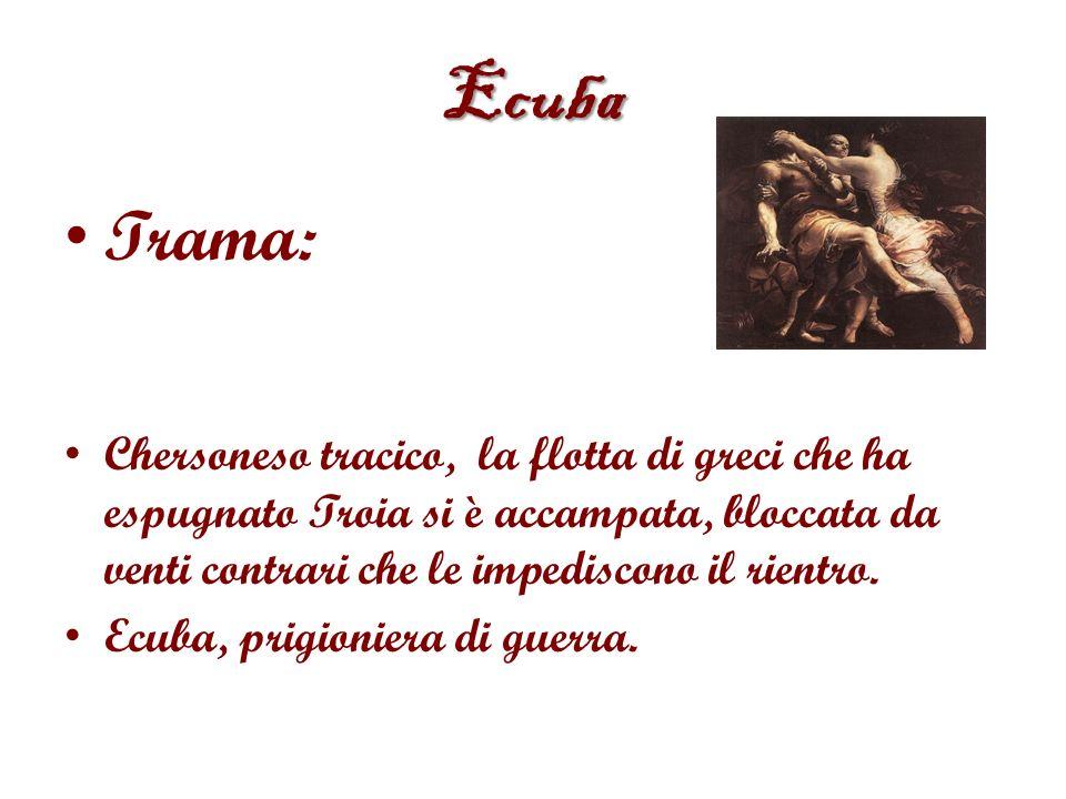 Ecuba Trama: Chersoneso tracico, la flotta di greci che ha espugnato Troia si è accampata, bloccata da venti contrari che le impediscono il rientro.