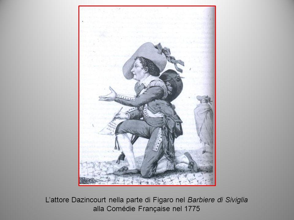 Lattore Dazincourt nella parte di Figaro nel Barbiere di Siviglia alla Comédie Française nel 1775