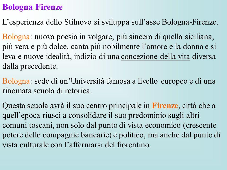 Bologna Firenze Lesperienza dello Stilnovo si sviluppa sullasse Bologna-Firenze. Bologna: nuova poesia in volgare, più sincera di quella siciliana, pi