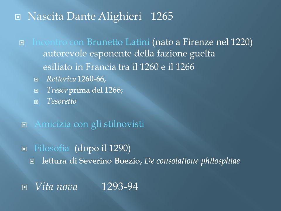 Vita nova 1293-94 Nascita Dante Alighieri1265 Incontro con Brunetto Latini (nato a Firenze nel 1220) autorevole esponente della fazione guelfa esiliat