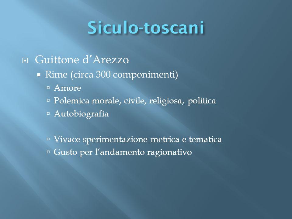 Guittone dArezzo Rime (circa 300 componimenti) Amore Polemica morale, civile, religiosa, politica Autobiografia Vivace sperimentazione metrica e temat