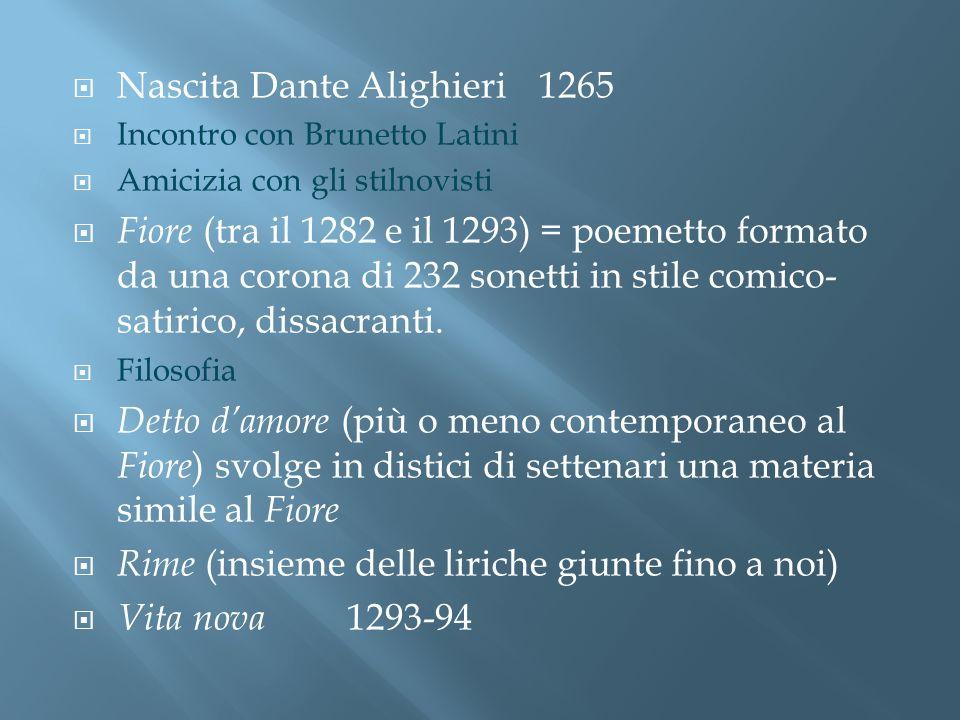 Nascita Dante Alighieri1265 Incontro con Brunetto Latini Amicizia con gli stilnovisti Fiore (tra il 1282 e il 1293) = poemetto formato da una corona d