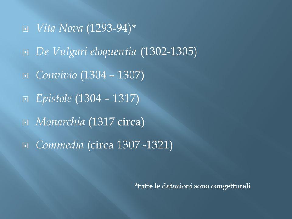 Vita Nova (1293-94)* De Vulgari eloquentia (1302-1305) Convivio (1304 – 1307) Epistole (1304 – 1317) Monarchia (1317 circa) Commedia (circa 1307 -1321