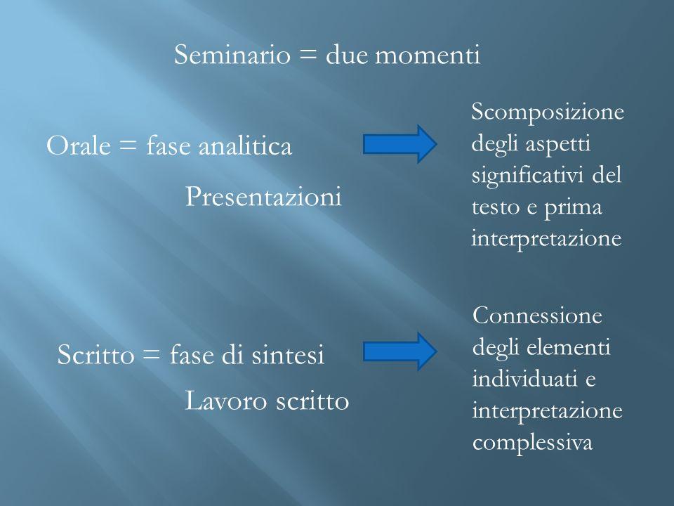 Orale = fase analitica Scomposizione degli aspetti significativi del testo e prima interpretazione Presentazioni Scritto = fase di sintesi Seminario =
