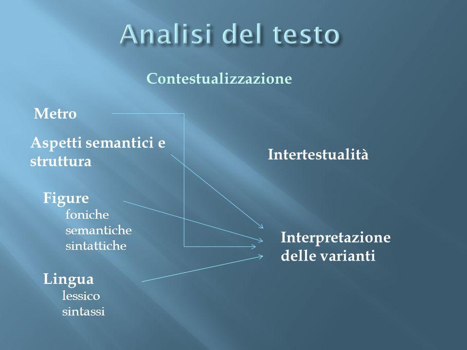 Metro Aspetti semantici e struttura Figure foniche semantiche sintattiche Lingua lessico sintassi Intertestualità Interpretazione delle varianti Contestualizzazione