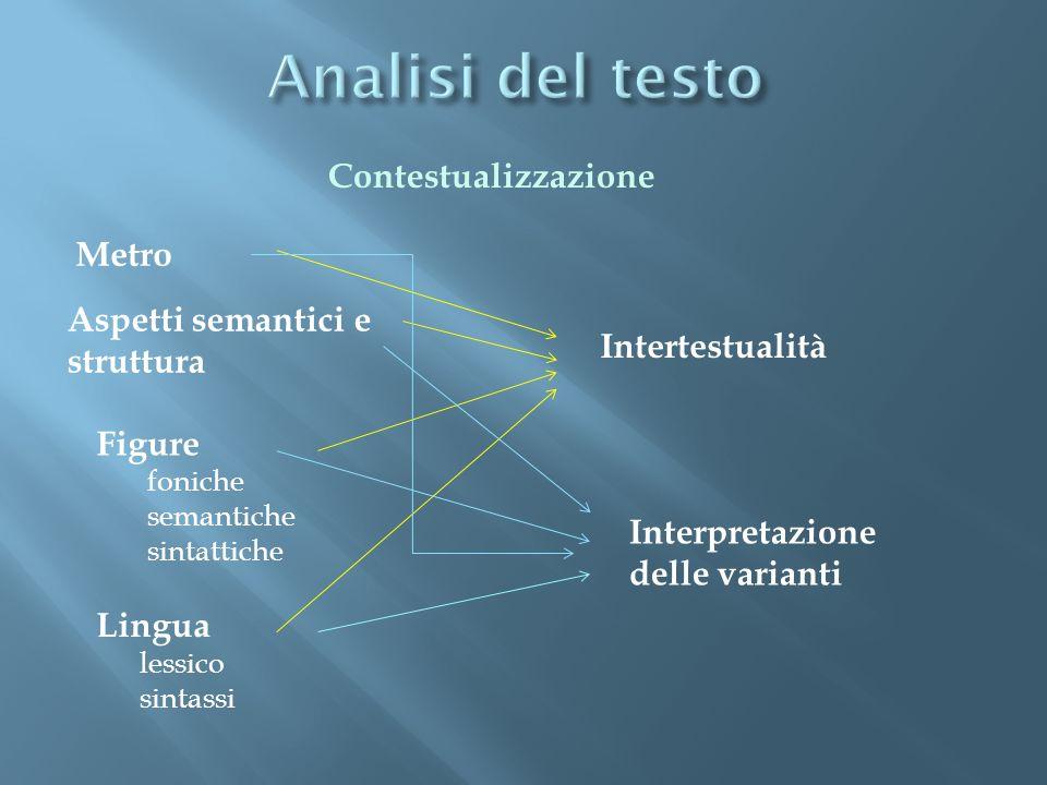Metro Aspetti semantici e struttura Figure foniche semantiche sintattiche Lingua lessico sintassi Intertestualità Interpretazione delle varianti Conte