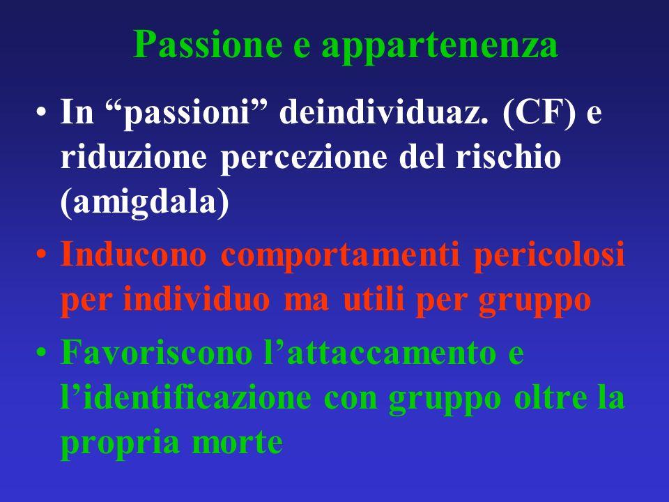 Passione e appartenenza In passioni deindividuaz. (CF) e riduzione percezione del rischio (amigdala) Inducono comportamenti pericolosi per individuo m