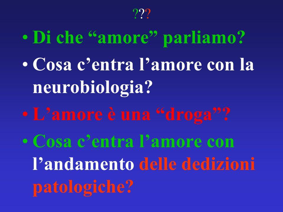 ?????? Di che amore parliamo? Cosa centra lamore con la neurobiologia? Lamore è una droga? Cosa centra lamore con landamento delle dedizioni patologic