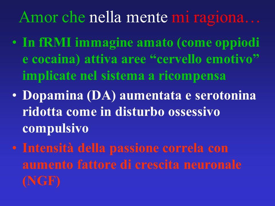 Amor che nella mente mi ragiona… In fRMI immagine amato (come oppiodi e cocaina) attiva aree cervello emotivo implicate nel sistema a ricompensa Dopam