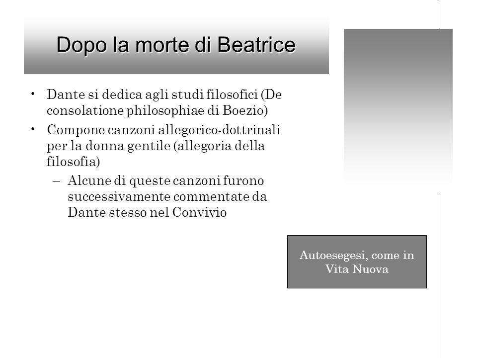 Dopo la morte di Beatrice Dante si dedica agli studi filosofici (De consolatione philosophiae di Boezio) Compone canzoni allegorico-dottrinali per la donna gentile (allegoria della filosofia) –Alcune di queste canzoni furono successivamente commentate da Dante stesso nel Convivio Autoesegesi, come in Vita Nuova