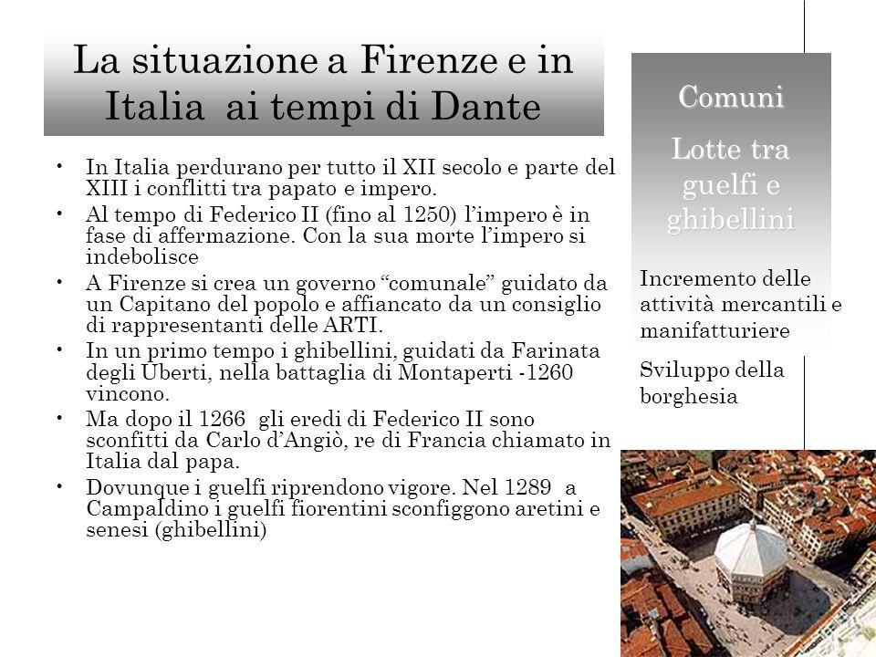 La situazione a Firenze e in Italia ai tempi di Dante In Italia perdurano per tutto il XII secolo e parte del XIII i conflitti tra papato e impero.