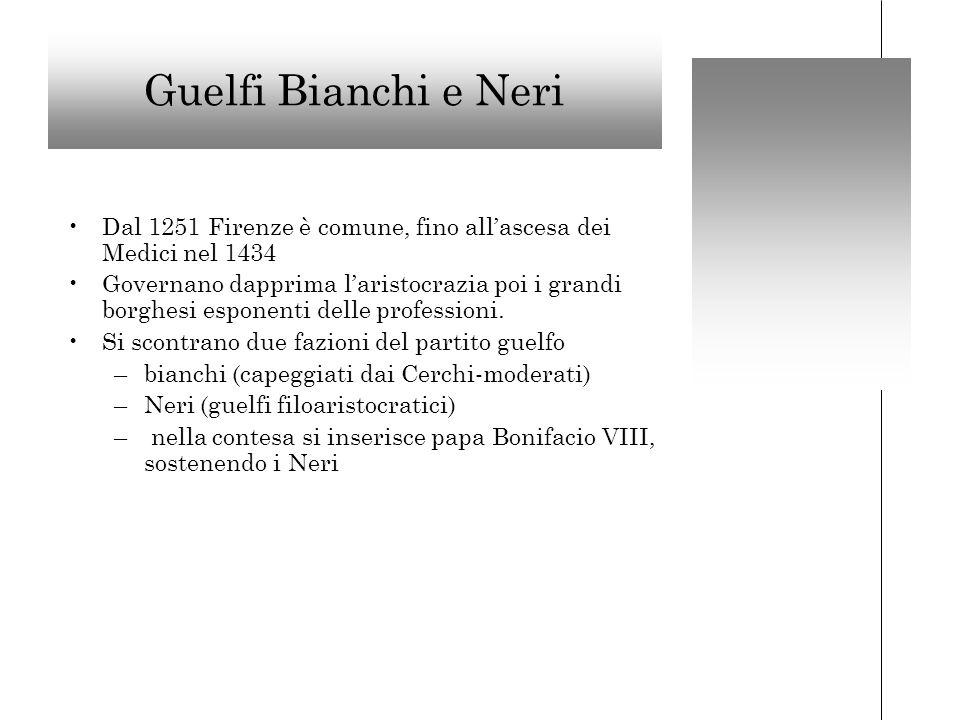 Guelfi Bianchi e Neri Dal 1251 Firenze è comune, fino allascesa dei Medici nel 1434 Governano dapprima laristocrazia poi i grandi borghesi esponenti delle professioni.