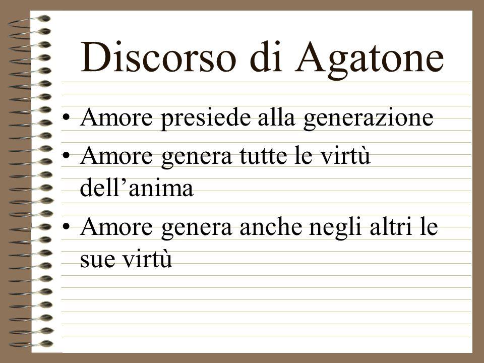 Discorso di Agatone Amore è il Dio più giovane, bello e buono Non fa né riceve ingiustizia, è temperante, valoroso e sapiente Amore ispira i poeti e t