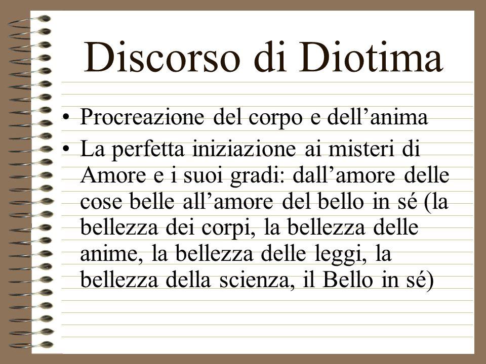 Discorso di Diotima Amore è tendenza al possesso perpetuo del bene Opera e scopo di Amore = la procreazione nel bello, sia secondo il corpo, sia secon