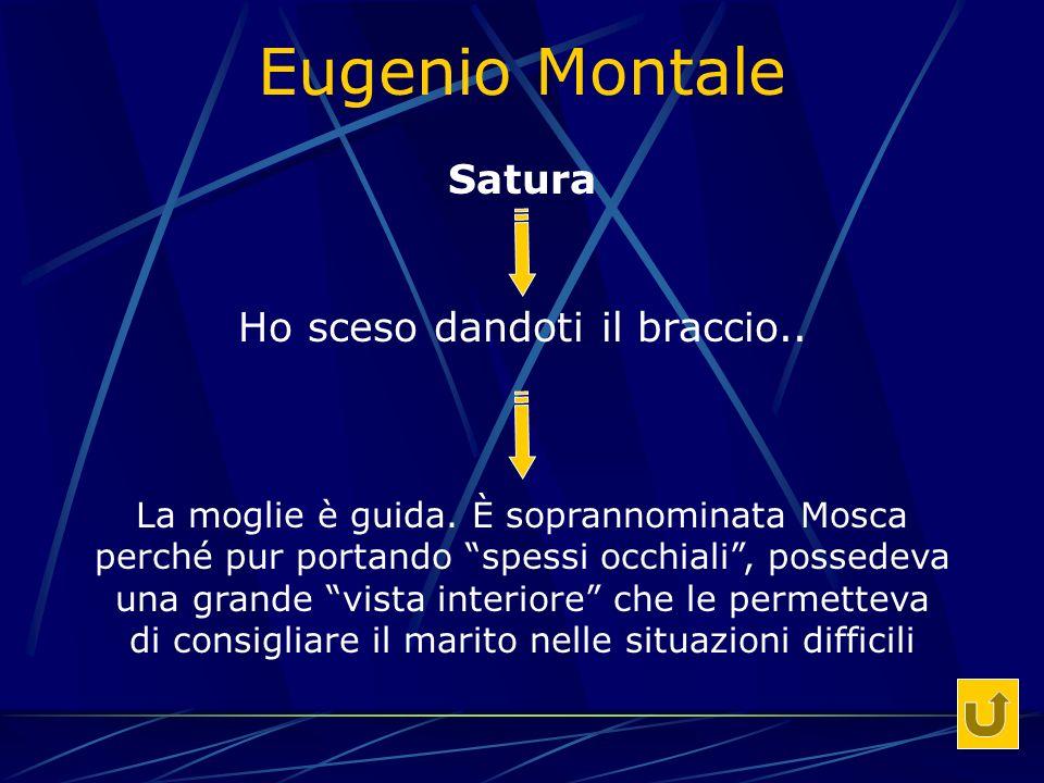Eugenio Montale Satura Ho sceso dandoti il braccio..