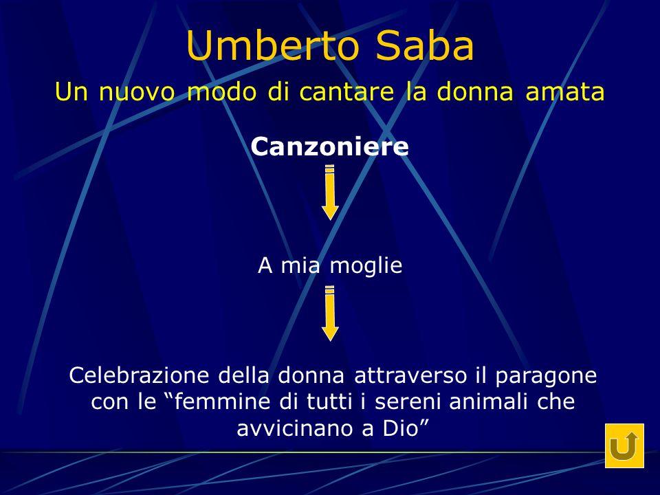 Umberto Saba Un nuovo modo di cantare la donna amata Canzoniere A mia moglie Celebrazione della donna attraverso il paragone con le femmine di tutti i sereni animali che avvicinano a Dio