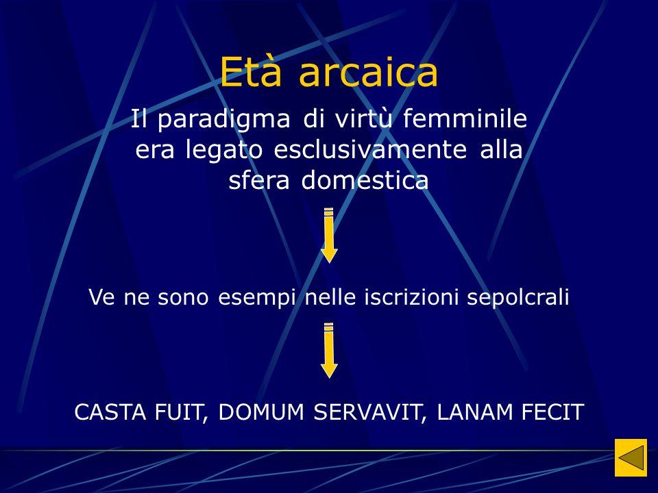Età arcaica Il paradigma di virtù femminile era legato esclusivamente alla sfera domestica Ve ne sono esempi nelle iscrizioni sepolcrali CASTA FUIT, DOMUM SERVAVIT, LANAM FECIT