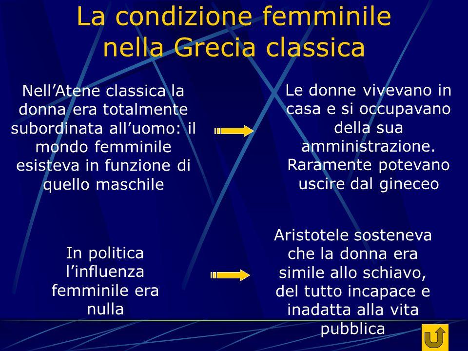 La condizione femminile nella Grecia classica Le donne vivevano in casa e si occupavano della sua amministrazione.