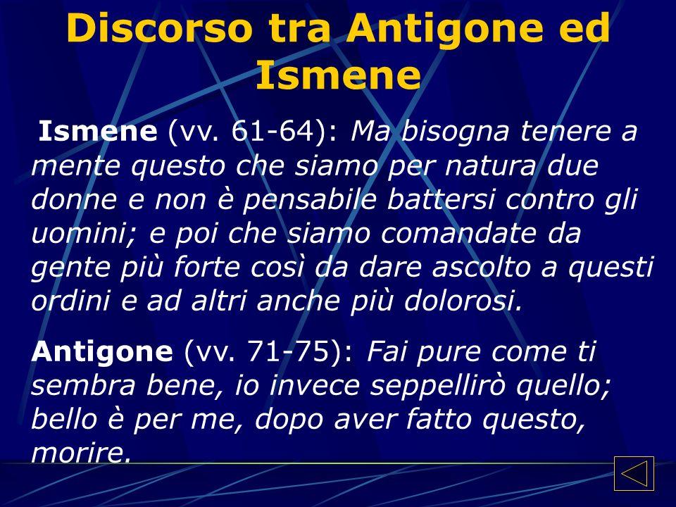 Discorso tra Antigone ed Ismene Ismene (vv.