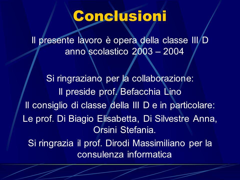 Conclusioni Il presente lavoro è opera della classe III D anno scolastico 2003 – 2004 Si ringraziano per la collaborazione: Il preside prof.