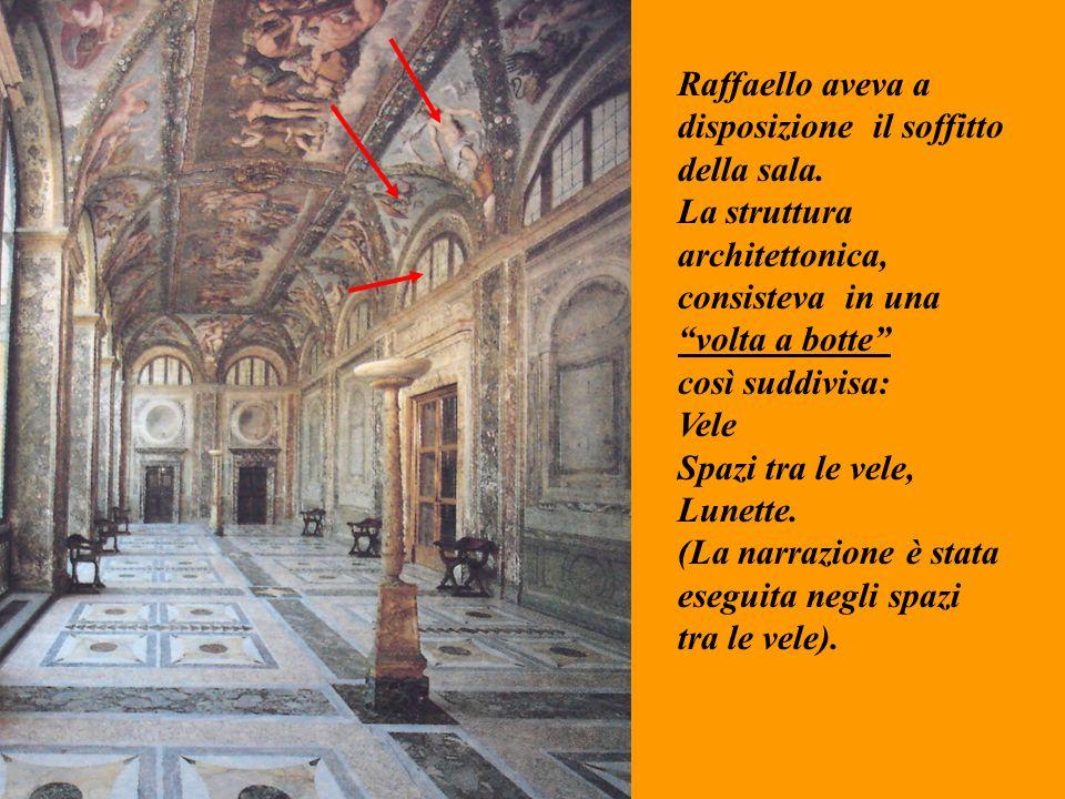 Raffaello aveva a disposizione il soffitto della sala. La struttura architettonica, consisteva in una volta a botte così suddivisa: Vele Spazi tra le