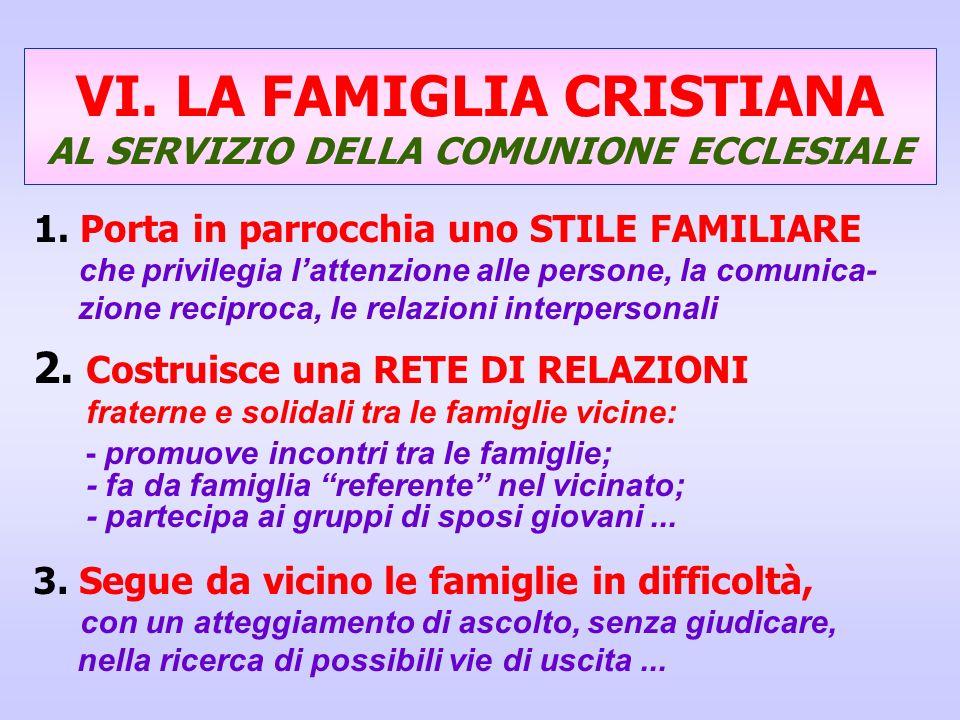 VI. LA FAMIGLIA CRISTIANA AL SERVIZIO DELLA COMUNIONE ECCLESIALE 1. Porta in parrocchia uno STILE FAMILIARE che privilegia lattenzione alle persone, l