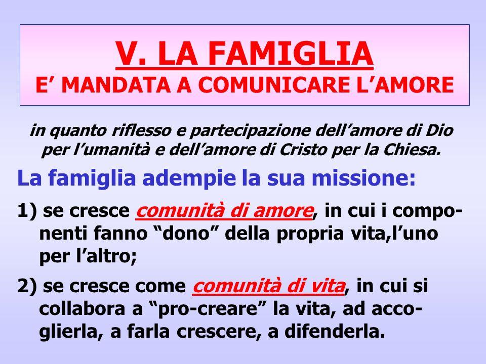 V. LA FAMIGLIA E MANDATA A COMUNICARE LAMORE in quanto riflesso e partecipazione dellamore di Dio per lumanità e dellamore di Cristo per la Chiesa. La