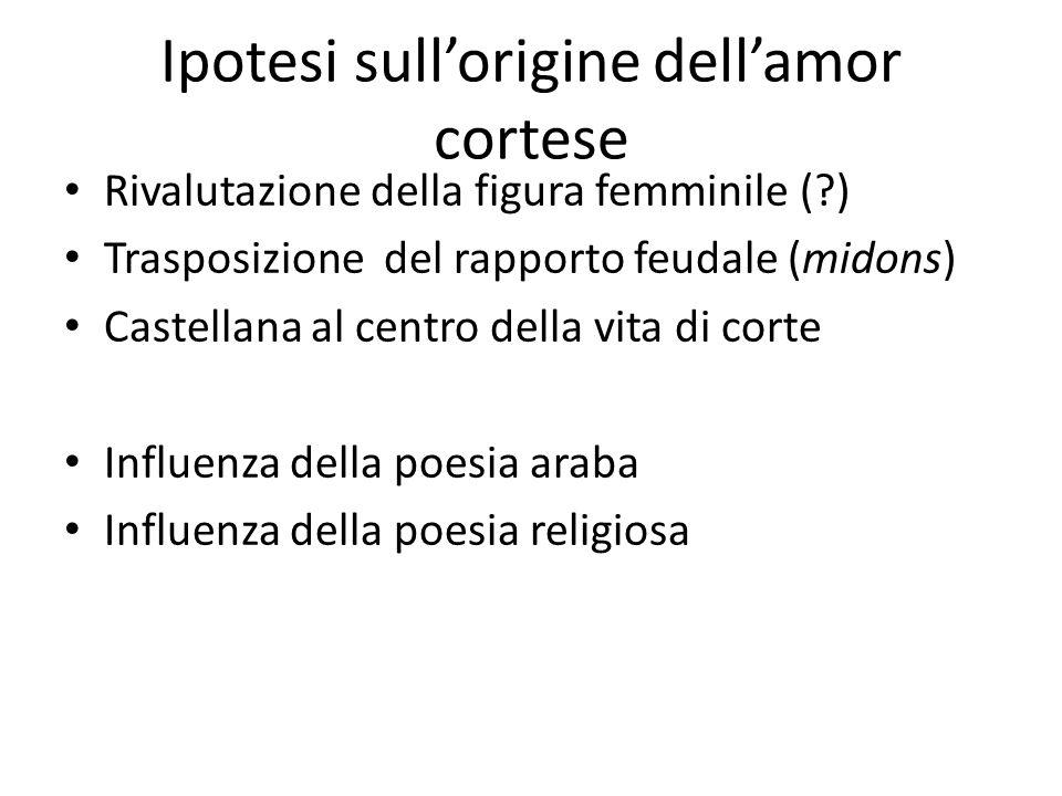 Ipotesi sullorigine dellamor cortese Rivalutazione della figura femminile (?) Trasposizione del rapporto feudale (midons) Castellana al centro della v