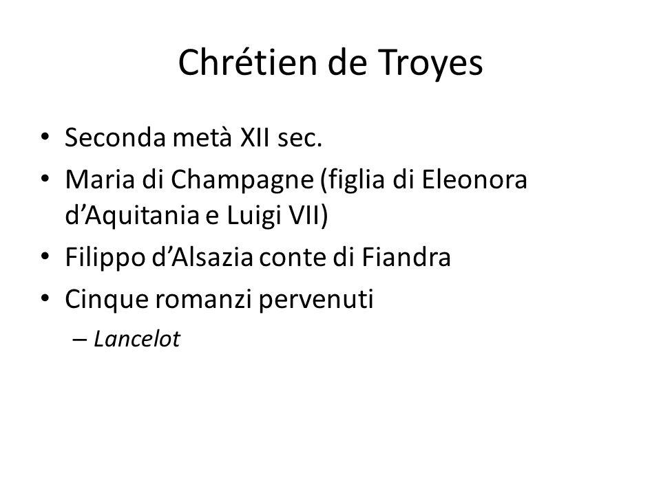 Chrétien de Troyes Seconda metà XII sec. Maria di Champagne (figlia di Eleonora dAquitania e Luigi VII) Filippo dAlsazia conte di Fiandra Cinque roman