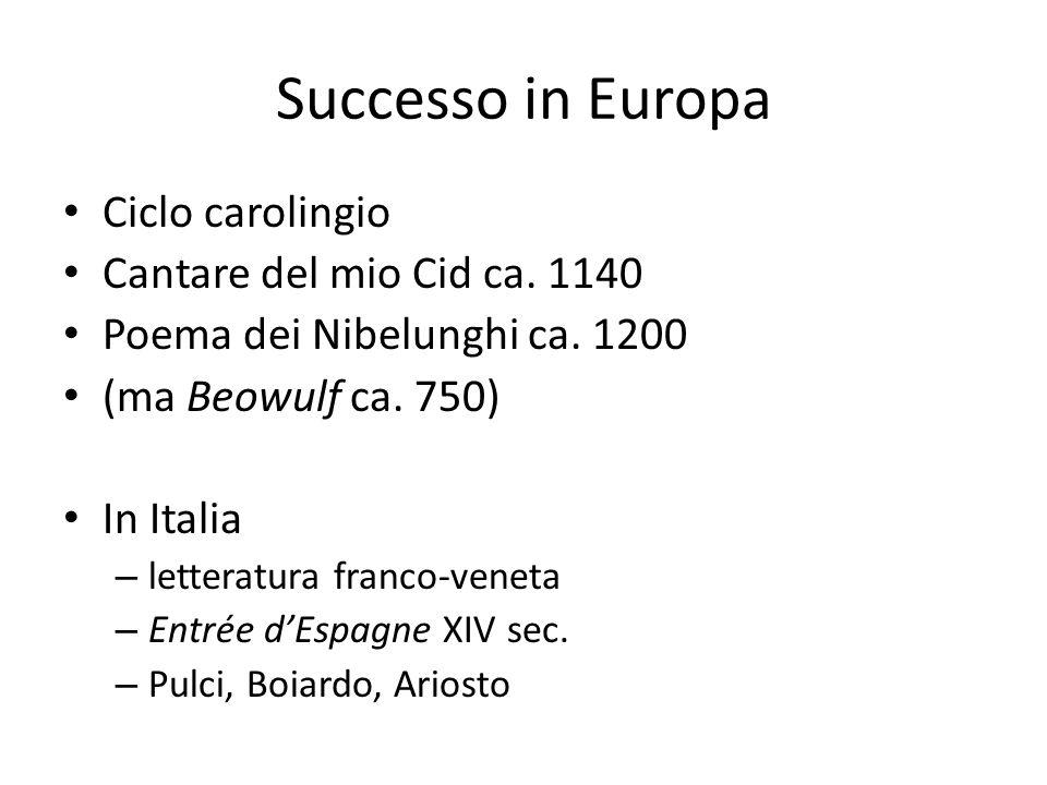 Successo in Europa Ciclo carolingio Cantare del mio Cid ca. 1140 Poema dei Nibelunghi ca. 1200 (ma Beowulf ca. 750) In Italia – letteratura franco-ven