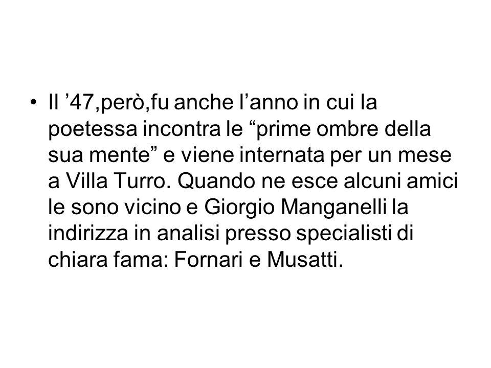 Nel 1950 Giacinto Spagnoletti sarà il primo a pubblicarla,nellantologia della poesia italiana 1909-1949 con i componimenti :Il gobbo e Luce.