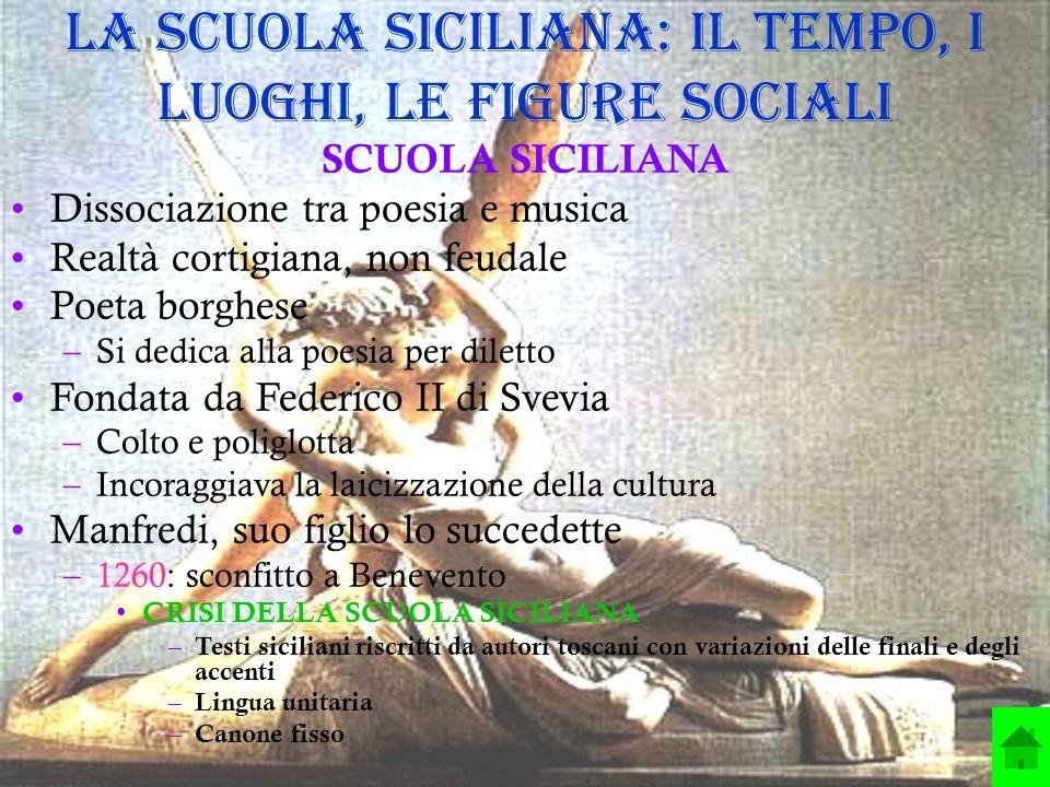 La Scuola siciliana: il tempo, i luoghi, le figure sociali SCUOLA SICILIANA Dissociazione tra poesia e musica Realtà cortigiana, non feudale Poeta bor