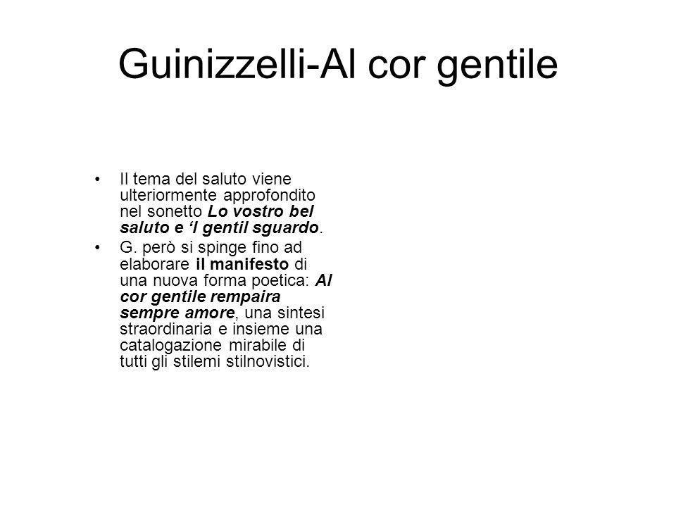 Guinizzelli-Al cor gentile Il tema del saluto viene ulteriormente approfondito nel sonetto Lo vostro bel saluto e l gentil sguardo.