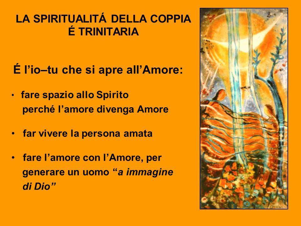 LA SPIRITUALITÁ DELLA COPPIA É TRINITARIA É lio–tu che si apre allAmore: fare spazio allo Spirito perché lamore divenga Amore far vivere la persona am