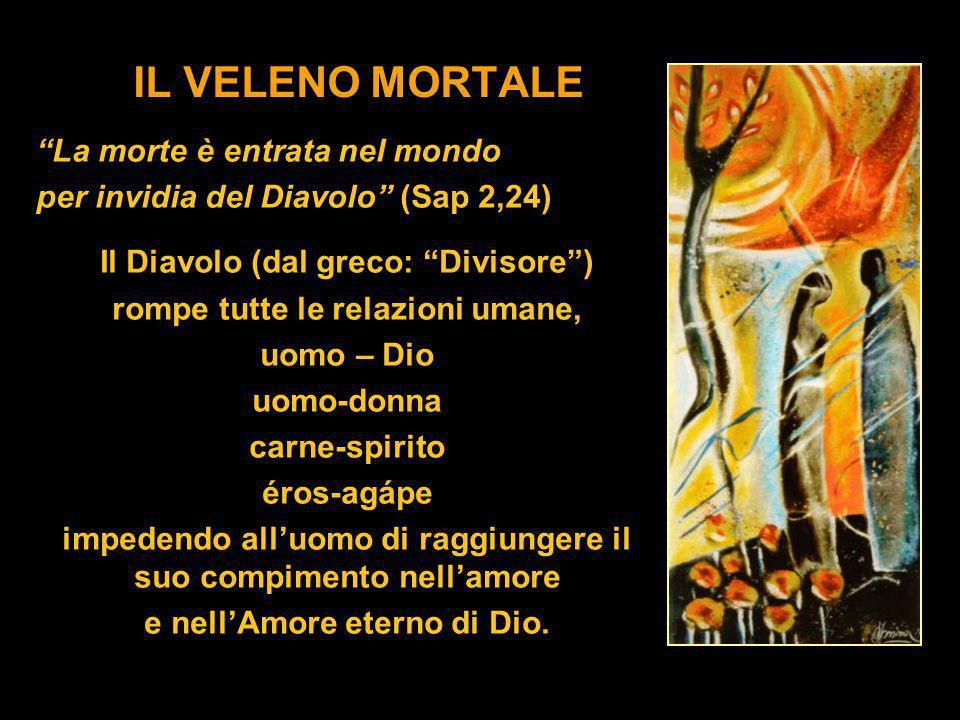 IL VELENO MORTALE La morte è entrata nel mondo per invidia del Diavolo (Sap 2,24) Il Diavolo (dal greco: Divisore) rompe tutte le relazioni umane, uom